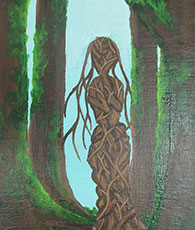 Green story painting woman